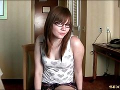 Wicked hot JOI in a motel room from a glasses teen