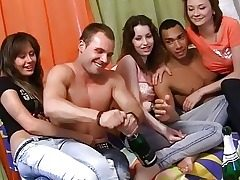 Nude dancing and naughty gang party sex