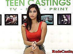 Unexperienced beauty hardfucked at audition