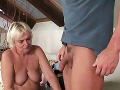 Boozed blondie old mother inlaw craving his weenie