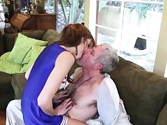 Teen babe fucks old fellow