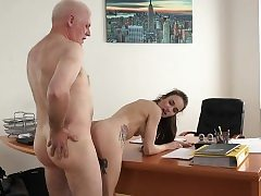 Youthfull Doll Fucked by Elderly Man Office Gargle Blowjob