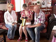 He finds his cuckold teen gf fucking with old parents