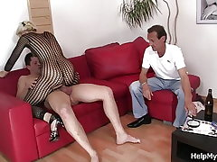 Elder husband seeing wifey railing another cock