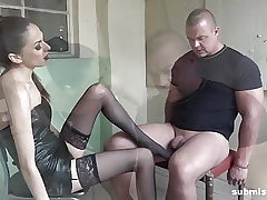 Bound guy submissed by Euro domina! Good Femdom!
