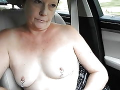 Exhibitionist MILF's Stripped to the waist Van Dare