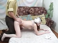 Russian schoolgirl gets trimmed snatch nailed