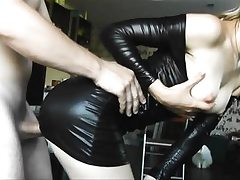 Latex youthfull babe gets doggy fucked firm