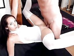 Sexy whore in seductive underwear gets creampied in her vagina