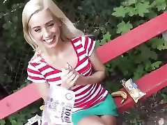 Adorable blond babe gets romped for money in a public place hard core
