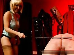 Horny blonde dressed in a wig rubbing his ass and then slapping it hard